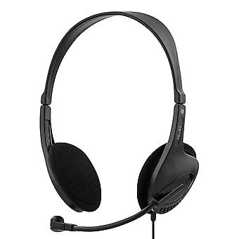 DELTACO headset, surface-mounted, 2 x 3.5 mm, 2.5 m cable, black