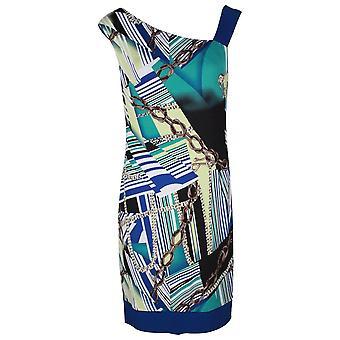 Frank Lyman Sleeveless Blue Multi Print Lined Dress