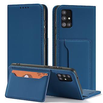 Flip folio leather case for samsung a51 4g blue pns-452