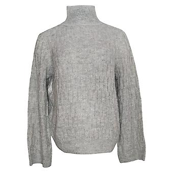 Lisa Rinna Collection Women's Sweater Textured Wide Sleeve Gray A349567