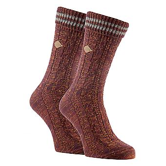 2 Pk mens cable knit cotton boot dress socks