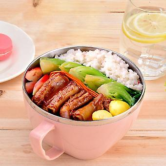 900ml Large Capacity Stainless Steel Solid Bowl With Lid Handle Food Container