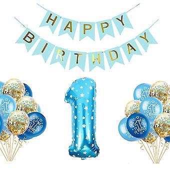 Jungen 1. Geburtstag Party Luftballons Set Happy Birthday Baby Boy Supplies für Junge o Mädchen