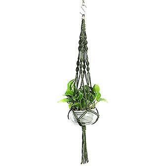 (Mörkgrön) Växt hängare Macrame hängande planter korg rep blomma kruka hållare trädgård dekoratorer