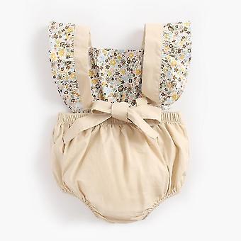 Newborn Baby Girl Suspender Short Sleeve Floral  Bodysuit(12-18CM)