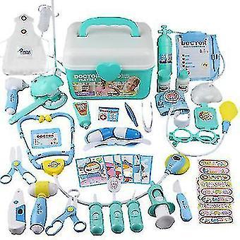 44st Doktor Leksak Barn sjuksköterska Simulering Klinik Utrustning Medicinsk Låda Förvaringslåda Set (Blå)