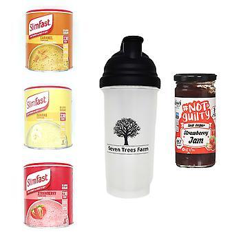 Seven Trees Farm Kit met 5 producten | 1 x Caramel, 1 x Banana, 1 x Strawberry Shakes, 1 x Shaker en 1 x Strawberry Jam, Wees mager en gezond!