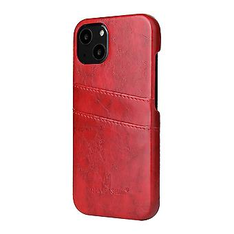 Para iPhone 13 mini Funda Deluxe Cartera de cuero Carcasa trasera Cubierta delgada Rojo