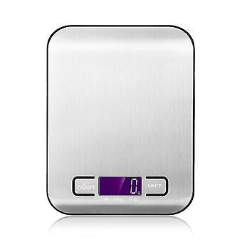 H-grund Digital köksskala – i silver – Högprecisionsskala med batterier – Batteridriven finskala med stor borstad rostfri yta