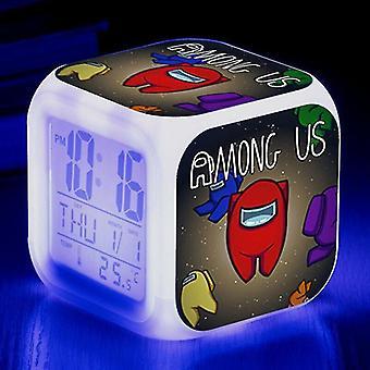 Alarm clocks #2 kids christmas giftgame among us imposter led alarm clock digital 7 colour night light