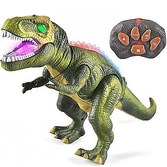 Led Light Up Remote Control Dinosaur Walking And Roaring Realistic T-rex Toys For Toddlers Boys Girls