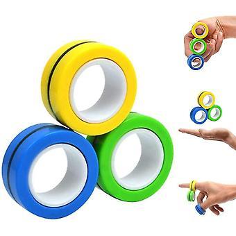 Magnetiske ringe Spinner Legetøj | Magnetisk Stress Spinner Ring, Angst Relief - 3pcs flerfarvet