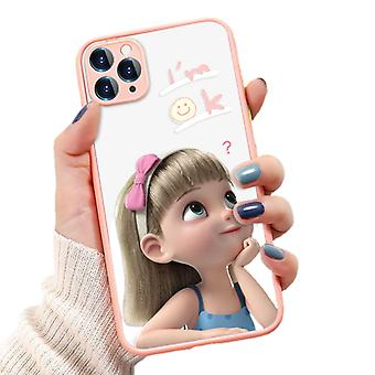 Funny Girl maalattu puhelinkotelo iphone 11 Pro all-inclusive puhelinkotelo (o136 vaaleanpunainen)