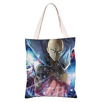 الكرتون أنيمي قماش حقيبة التسوق حمل، واحد لكمة رجل #19