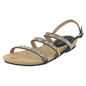 Ladies Leather Collection Diamante Slingback Sandals F10594