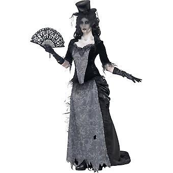 Fantasia de fantasma cinzento de viúva negra top saia e chapéu tamanho M