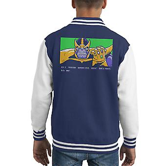 All Your Worlds Are Belong To Me Thanos Zero Wing Kid's Varsity Jacket