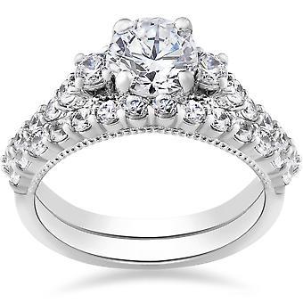 2ct Diamond Engagement Vintage Wedding Ring Set 14k or blanc