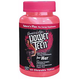 Natures Plus POWER TEEN For Her Chewable Multi - Wild Berry, 60 chewable tablets