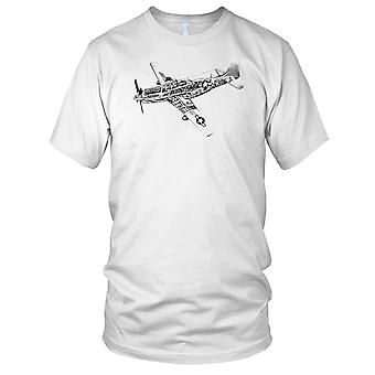 P-51 Thunderbolt WW2 jagerfly fly Mens T-skjorte