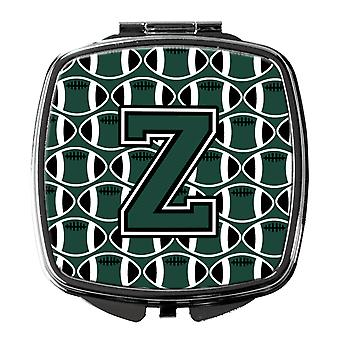 Letter Z Football Green and White Compact Mirror