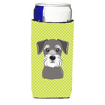 Checkerboard Lime Green Schnauzer Ultra Beverage Insulators for slim cans