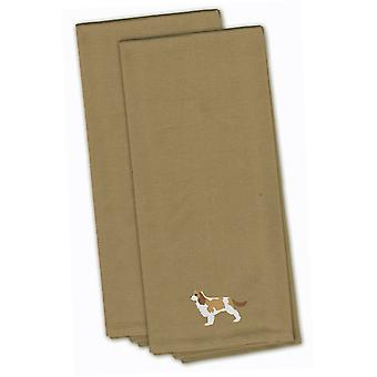 Cavalier King Charles Spaniel Tan Embroidered Kitchen Towel Set of 2