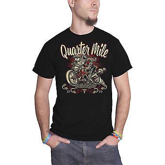 Quarter Mile T Shirt Bad To The Bone logo built to race Official Mens Black