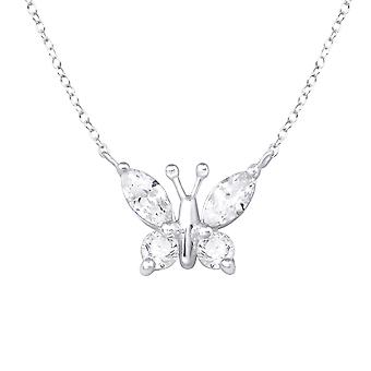Butterfly - 925 Sterling hopea Jewelled kaulakorut - W34008x