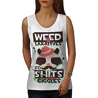 Weed Raccoon 42 Funny Women WhiteTank Top | Wellcoda