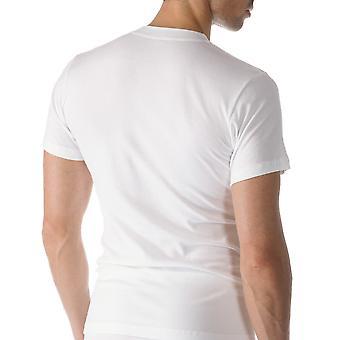 Algodão Casual cor sólida branca Top de manga curta Mey 49003-101 masculino