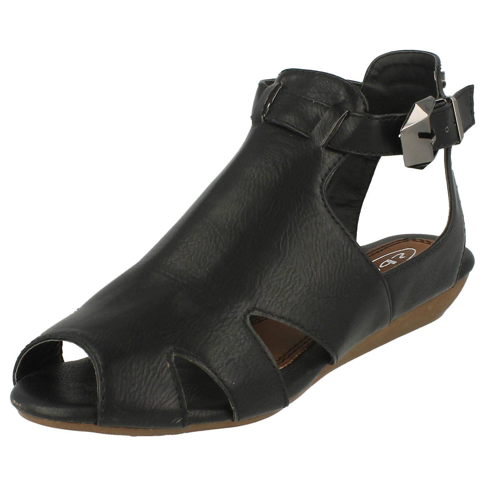 Ladies Spot On Low Wedge Cut Out Sandals 'F10223' ifCpQ
