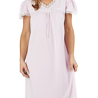 Jacquard nuit rose robe pyjama Slenderella ND1115 féminines plafonnés manches chemise de nuit