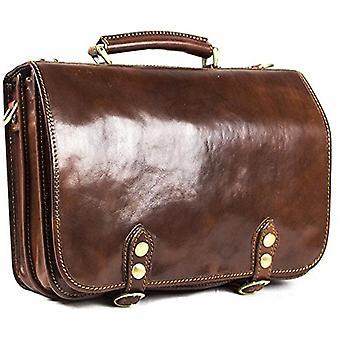 Vero cuoio italiano iPhone Briefcase Laptop Satchel borsa Unisex marrone