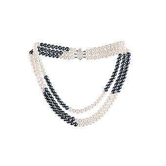 Women's 3-row necklace of black and white freshwater and Silver Clasper 925 692