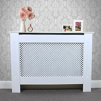 Radiator Cover White MDF Wood Trellised Grill Modern Heating Home Furniture Cabinet Shelf