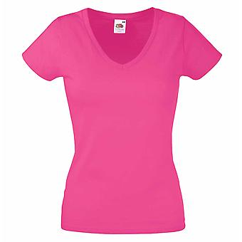 Fruit of the Loom Ladies Fit Valueweight Colours V-Neck Short Sleeve T Shirt