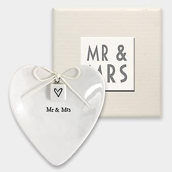 East of India, Ring Dish 'Mr and Mrs' Wedding Rings Keepsake / Ring Bearer