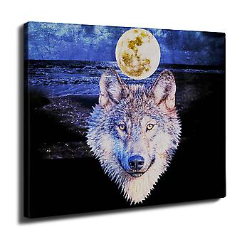 Moon Wolf Beast Wall Art Canvas 40cm x 30cm | Wellcoda