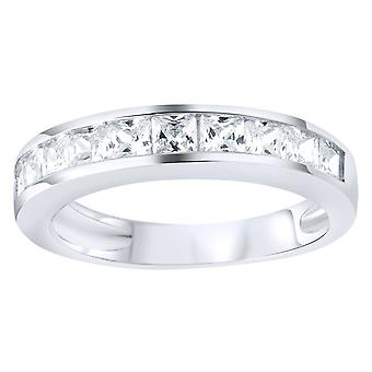 Sterling 925er Silber Pave Ring - Princess Zirkonia