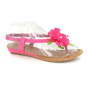Ladies Spot On Low Wedge Flower Detail Sandals