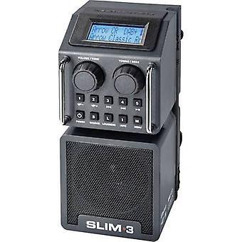 PerfectPro Slim 3 arbetsplats radio DAB +, FM AUX, Bluetooth, SD, USB Stötsäker, Splashproof, dammtät, uppladdningsbart svart