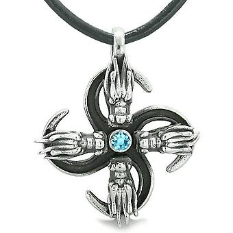 Supernatural Dragon Magic Powers All Forces of Nature Amulet Sky Blue Crystal Pendant Necklace