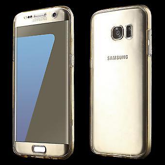 Tampa da caixa cristal para Samsung Galaxy S7 corpo cheio de moldura de ouro