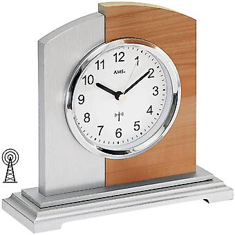 Radio table clock table clock radio core beech/aluminum application on wood cabinet
