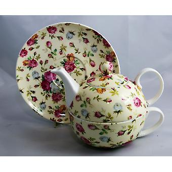 English Bone China Tea for One Rose Chintz