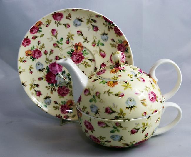 Английский костяного фарфора чай для одного Роуз Ситец