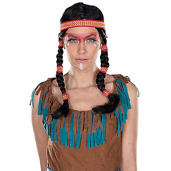 Indian wig 2 pigtails black women's wig accessory Carnival Hallowee
