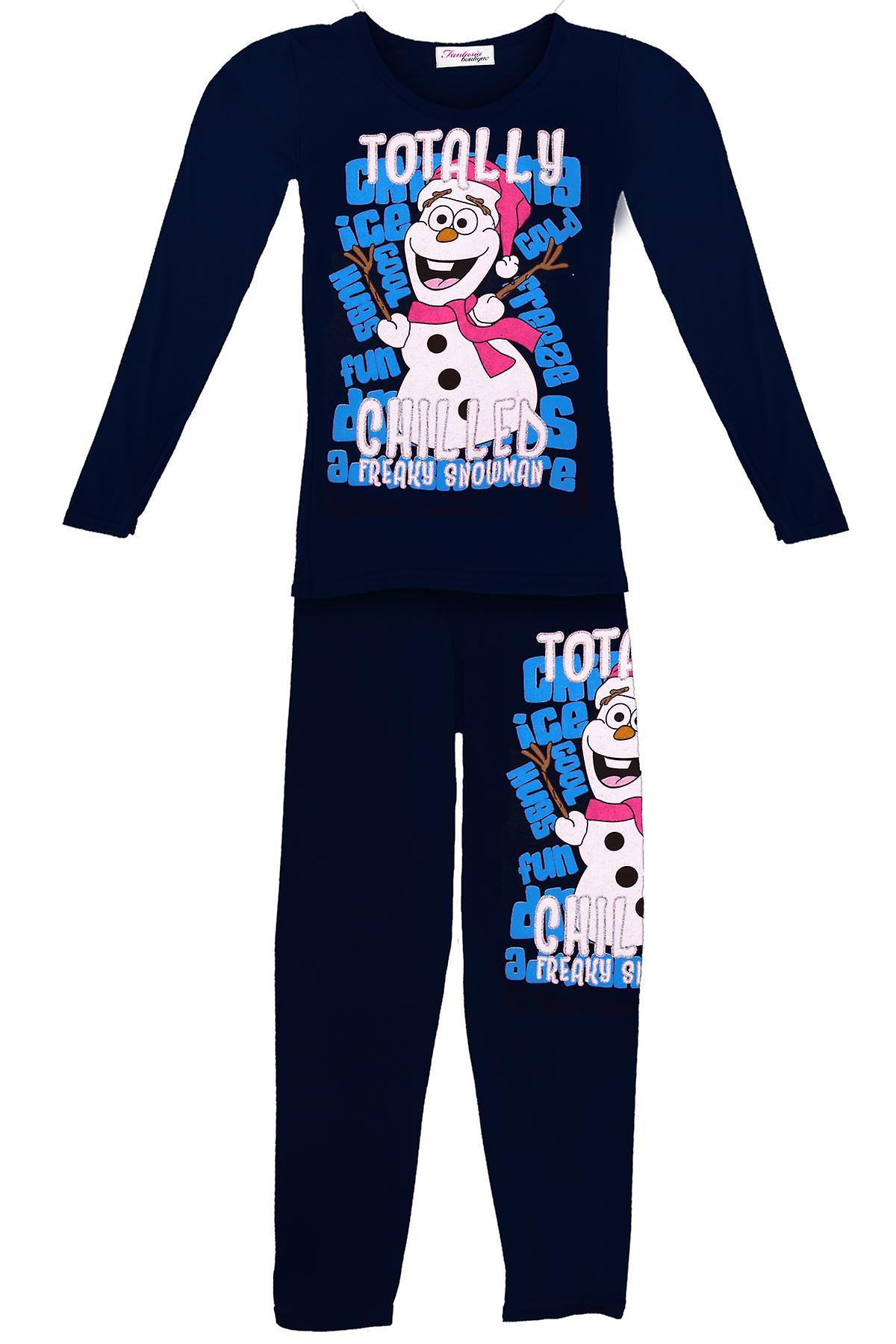 Lasten lumiukko OLAFin täysin jäähdytetty tytöt jäädytetty joulun pyjamat puku asetettu