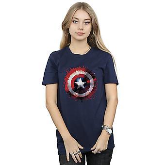 Marvel Women's Avengers Captain America Art Shield Boyfriend Fit T-Shirt